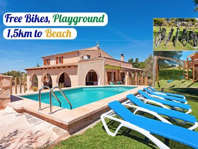 Photo for Villa at 1'5km from Es Trenc beach. Swimming pool. Bikes. Playground.