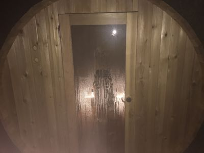 Photo for Private secluded cabin outdoor sauna close to waterfalls!!! On demand hot water!