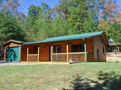 Photo for Cozy Cabin perfect for couples, hot tub, wifi, fireplace, fire pit, secluded
