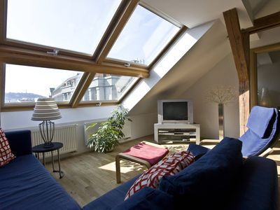 Photo for Wenceslas Attic I apartment in Nove Mesto with WiFi, integrated air conditioning & lift.