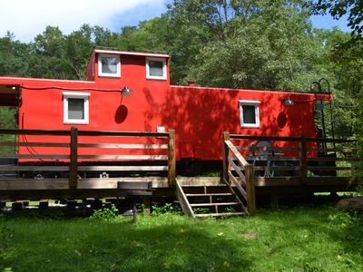 Photo for Romantic-Real 1954 Railroad Caboose! Snuggled on 5 acres! HOT TUB!