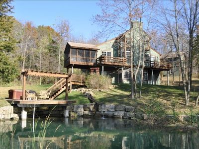 Photo for Secluded Wooded Retreat 6- BR, W/Pond, Hot Tub, Sleeps 12+!!
