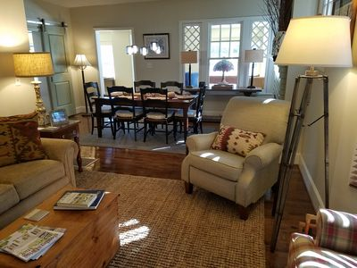 Cozy setting and comfortable seating makes the den a perfect gathering place.