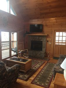 Photo for The Outpost: 5 BR / 3 BA five bedroomlog cabin in Maggie Valley, Sleeps 12
