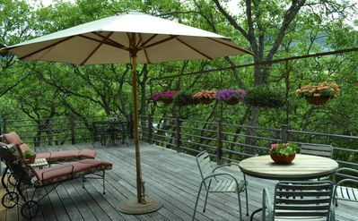 relax and enjoy the private deck in the trees