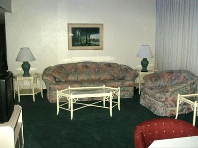 Very Spacious Living Room Area which includes a Comfortable Pullout Sleeper Sofa