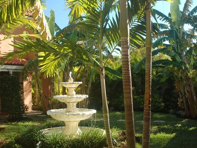 Our lush tropical courtyard with 6' Spanish fountain