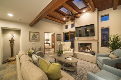Living are with direct access to patio for relaxing in the Santa Fe evening