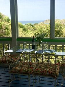 Screened In Outside Dining With Views of Fish Bay