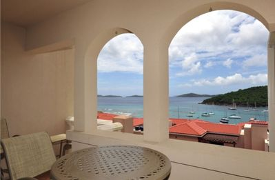 Balcony view looking out over Cruz Bay
