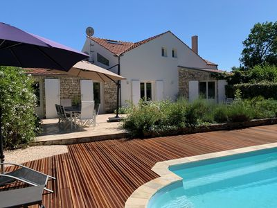 Photo for Architect house with swimming pool, village heart, 3 km from the beaches