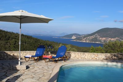 Spectacular views of Ithaca and the mainland from the pool