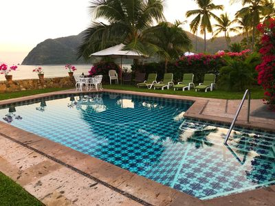 Photo for Beachfront Jewel directly on the beach in gated community at Club Santiago