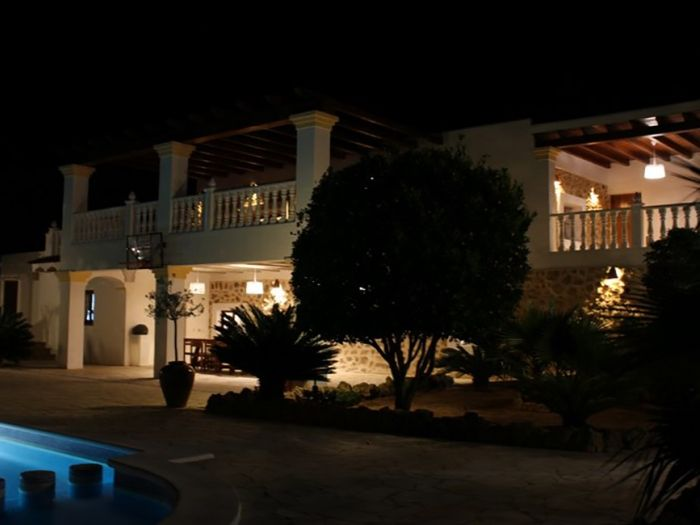 nice houses with pools at night. sant joan de labritja villa rental nice houses with pools at night