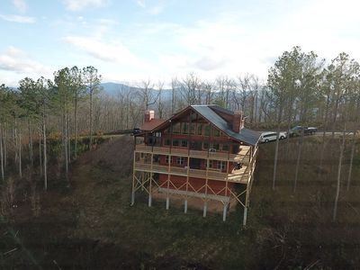 Photo for Mountaintop home w/ hot tub, 2 decks, pool table & stunning views - 1 dog OK!