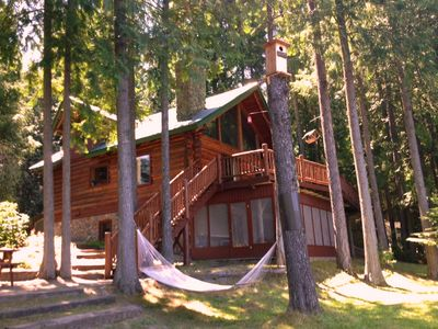 Photo for LAKE FRONT Log Home - Private Beach  - GLAMPING in comfort