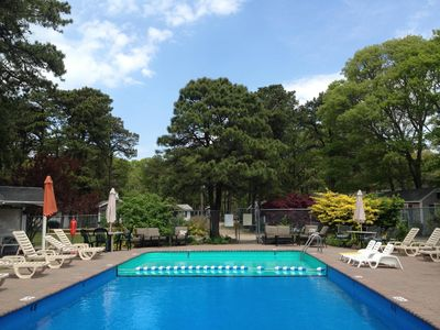 Our outdoor heated salt water pool open Memorial Day to Columbus Day