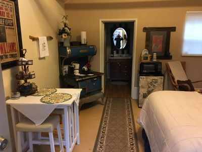 Small bistro table, fridge, microwave and toaster oven provided.