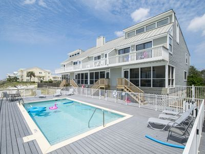 Photo for Beachside Pool, Private Beach Boardwalk, Screen porch with steps down to beach!