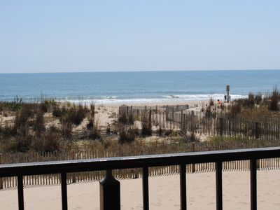 Photo for Spacious, comfortable 2 bedroom oceanfront condo great for families with kids; has free WiFi and fantastic ocean view located midtown just steps to the beach!