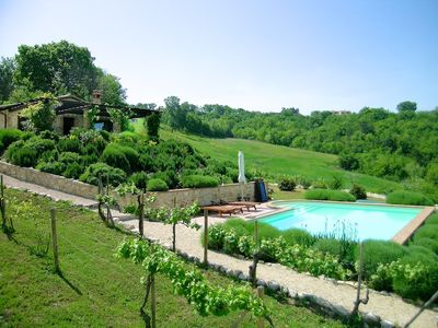 Photo for Beautiful stone house near Todi with private  pool in stunning hillside setting
