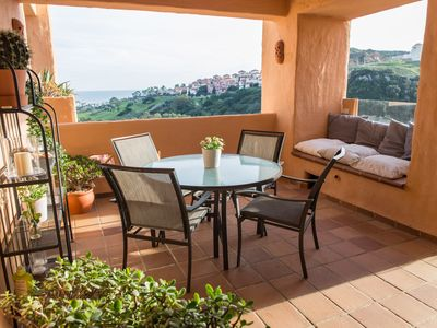 Photo for Magnificent apartment with sea and golf views in Coto Real Duquesa!