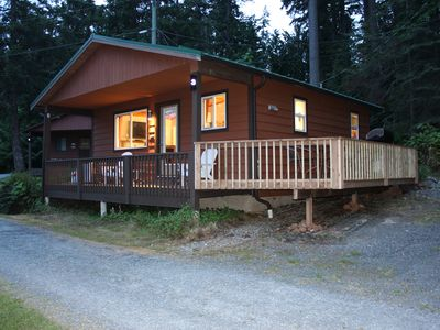 Photo for Tranquil Cottage in Bowser. Beautiful ocean view, private firepit on the beach.