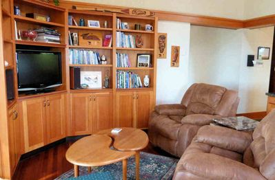The family room has comfortable reclining chairs to do some reading and relax.