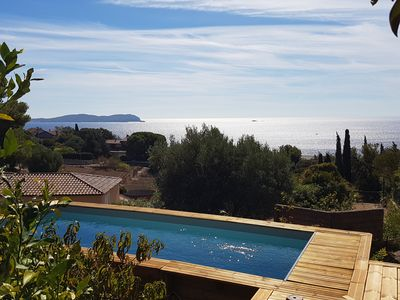 Photo for House with magnificent views 800m from the beach at sea. Small pool. AC