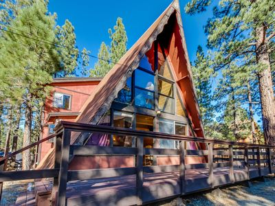 Photo for Rustic A-frame cabin w/ private hot tub - close to ski and beach access!