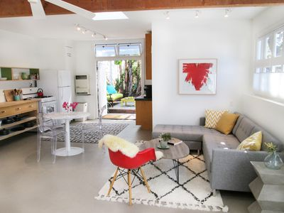 Photo for Santa Monica Canyon bungalow, artist loft in private compound, 2 blocks to beach