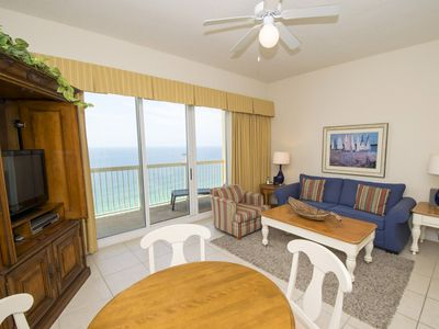 Photo for Beachfront Condo with Views Stretching for Miles! Private Balcony, Two Beachfront Pools, Tiki Bar!