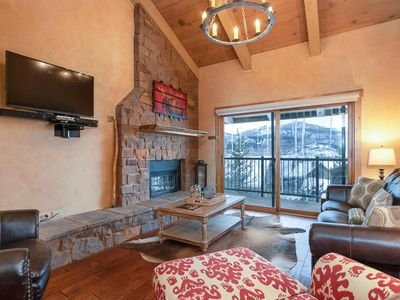 Photo for VAULTED CEILINGS, GIANT VIEWS-WALK/BUS TO GONDOLA SQUARE! 2 BR/2 BA POOL HOT TUB