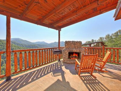 Photo for Spacious cabin w/great views & private decks; ideal for families