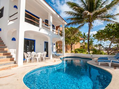 Large Affordable Home on a Pristine Sandy Beach in Akumal. Rent 4 - 7 bedroom