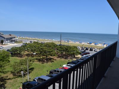 Photo for LINENS & DAILY ACTIVITIES INCLUDED*!. VIEWS, VIEWS, VIEWS!  OCEANFRONT/BOARDWALK BUILDING / ROOFTOP POOL Bright and spacious unit with a wonderful northern views of the ocean and coast line from livingroom/den and both bedrooms