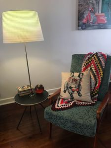 Our vintage table lamp and chair