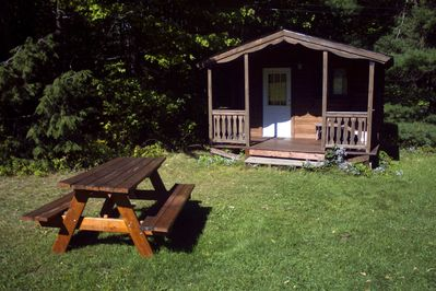 Front view of Story Time Cabin