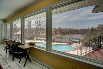pool and lake view from kitchen