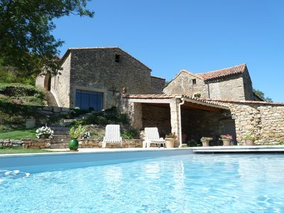 Photo for renovated detached farmhouse - South Aveyron - Heated pool - tennis