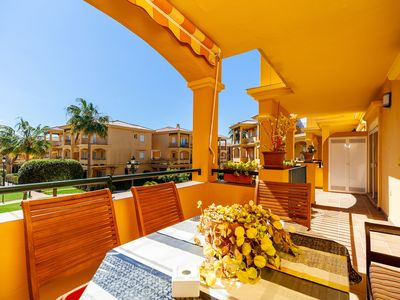 Photo for Air-Conditioned Apartment Close to Beach with Wi-Fi, Balcony, Terrace & Pool
