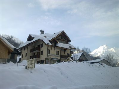 Photo for The chalet de l ardoisiere, furnished rental ski in ski out Sybelles