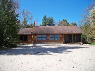 Photo for Log Home; K Beds;Grand View; Big Sandy Beach, Fireplace, Screened porch!