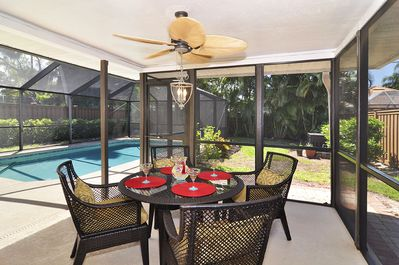 Complete privacy around screened patio and pool.