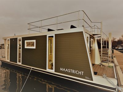 """Photo for Cozy floating Boatlodge """"Maastricht"""". Max. 4 persons, 2 bedrooms."""