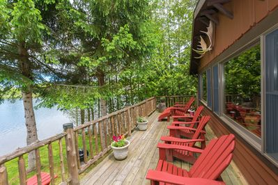 Deck on Moose Cabin over Lake Colby