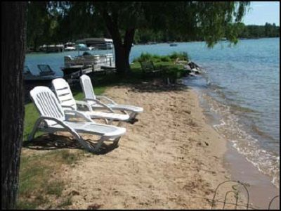 Photo for Paradise View beach front Elk Lake Home - Pontoon included - boat slip available