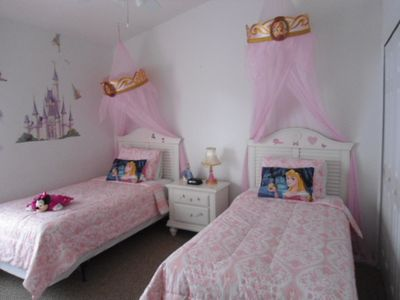 Princess themed bedroom with bathroom next door