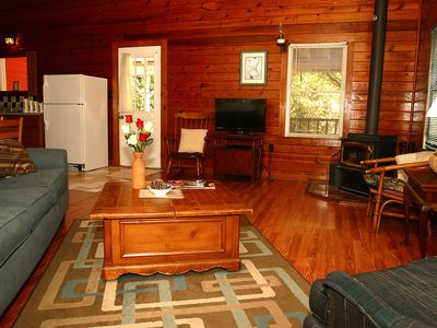 Photo for Pond Mountain Roadrunner, secluded cabin, sleeps 6 , king bed, queen bed and sofa bed, spa tub,pool
