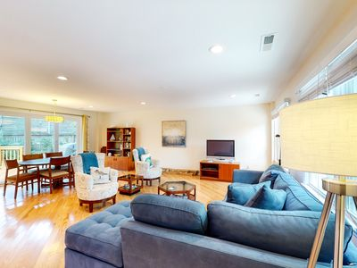 Photo for Comfortable dog-friendly home next door to rec center - blocks from beach access